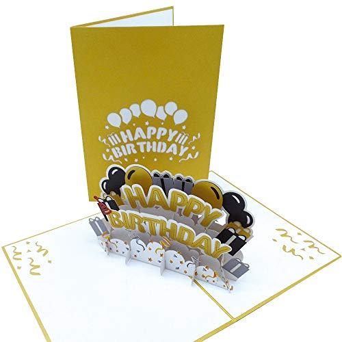 UNICUM Geburtstagskarte 3D Pop-Up Happy Birthday | Glückwunschkarte zum Geburtstag | mit Umschlag |Party | Happy Birthday Card BG131Y