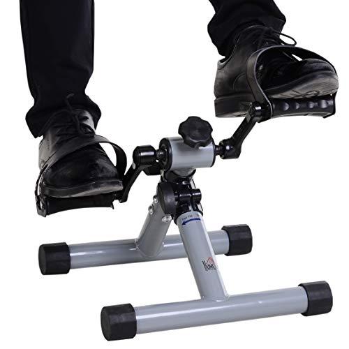 HOMCOM Mini Heimtrainer, Faltbarer Fahrradpedaltrainer, Mini-Bike, Stufenloser Widerstand, Stahl, Silbergrau, 33 x 34 x 32 cm