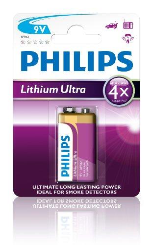 Philips 6FR61LB1A/10 Batterie Lithium Ultra (9V, 1-er Blister)
