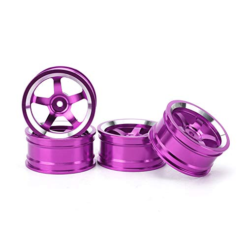 Cubo de llantas de coche, 1/10 RC Llantas de aleación de coche Llantas de rueda Piezas de repuesto de neumático de rueda RC Tourings Drift Accesorios de coche para HSP 94123 (4 piezas)(púrpura)