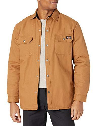 Dickies Flannel Lined Duck Shirt Jacket with Hydroshield Abrigo de utilidades de Trabajo, Pato Marrón, M para Hombre