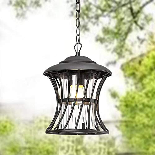Maxax Outdoor Pendant Light,Modern Hanging Lamp Fixture for Porch with Transparent Clear Glass and Black Finish, Adjustable Chain