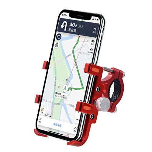 Handyhalterung Fahrrad Motorrad Handyhalter Holder - Universal Fahrradhalterung Motorrad Fahrrad Handyhalter Wiege Klammer Mit 360 Drehen für 5,4-9 cm Smartphone GPS und andere Geräte (Rot)