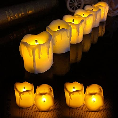 BJYX 12/24pc Dripping Wax LED Flickering Tea Light Candle Votive Flameless w/Battery (Color : 24PCS)