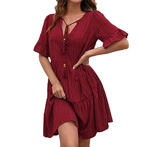 Mujeres sueltas una línea de vestido 2021 estilo simple color sólido V cuello verano vestido de longitud media
