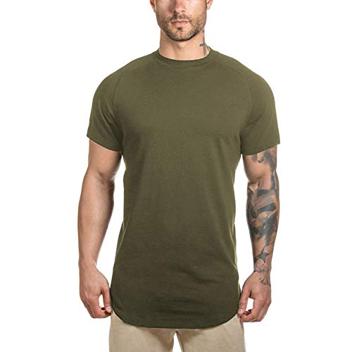LETAOTAO Herren Hipster-T-Shirt, Workout, Longline, T-Shirt mit gebogenem Saum - - Mittel