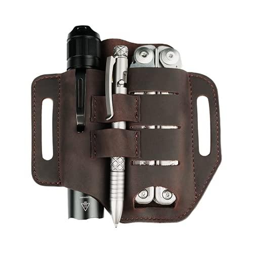 VIPERADE PJ13 EDC Leather Sheath, Knife Belt Sheath/Leather Flashlight Holster/for Leatherman Multitools Sheath, Handmade 3 Pockets Organizer Sheath for Knives/Flashlights/Tactical pens/Tools (Brown)