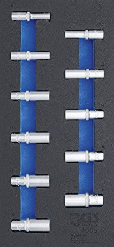 BGS 4058 | Werkstattwageneinlage 1/3: Steckschlüssel-Einsätze Sechskant | tief | 11-tlg.
