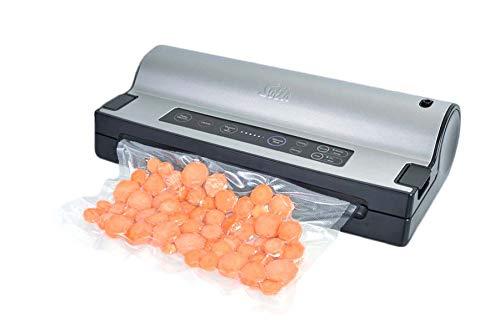 Solis Vakuumiergerät, Einschweissgerät Vakuum für Lebensmittel, Für trockene, Feuchte und Empfindliche Lebensmittel, Pulse- und Marinierfunktion, Mit Rollenfach und Folienschneider, Vac Prestige