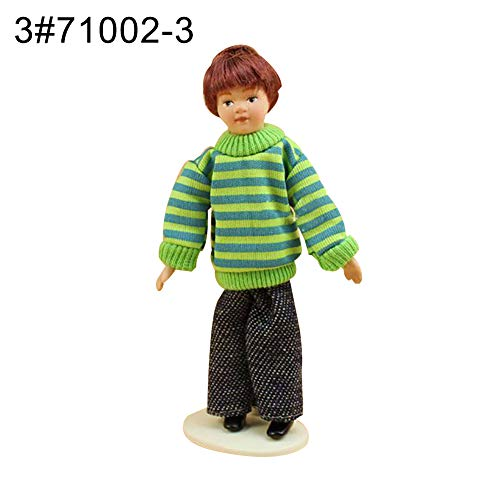 quanju cheer Handgefertigter Ton 10,2 cm bewegliche Keramik Junge Mädchen Puppe Spielzeug Kunst Handwerk 1:12 Puppenhaus Dekor 3#