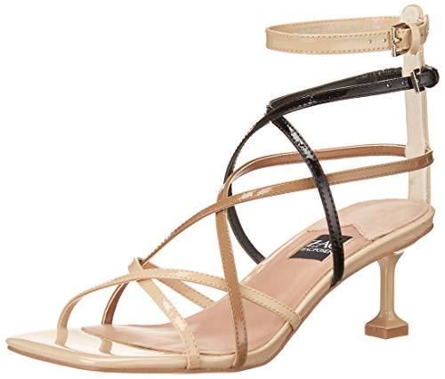 ZAC Zac Posen Women's Ankle Strap Heeled Sandal, SAND/BLACK, 11