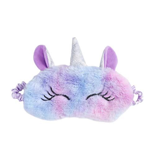 TENDYCOCO Schlafmaske Einhorn niedlichen Cartoon Plüsch Augenbinde Augenklappe Schattierung Augenklappe-violett