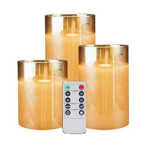 VERBAY Amber Glass LED Flameless Candles Flickering with Remote,Battery Operated,for Wedding,Festival Decorations,Gift,3 Pack