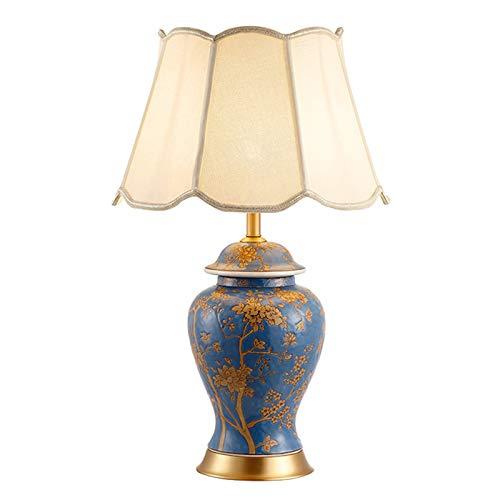 Lámpara De Mesa De Cerámica Azul Con Patrón Pintado A Mano, Lámpara De Noche Elegante Para Dormitorio, Lámpara De Mesa De Decoración De Hotel De Floristería, Lámpara De Mesa De Cobre De (Size:40*66cm)
