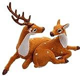 ZHINTE Adornos Navidad Navidad Pareja Ciervo Reno muñeco de Peluche Alce Realista Juguete de Peluche decoración