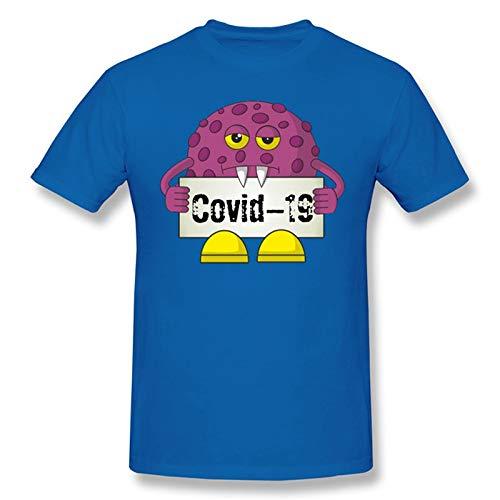 Coronavirus con T-Shirt Maschera Divertente Humor COVID-19 2020 Uomo Tee (Color : Blue, Size : L)