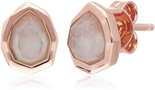 Irregular B Gema Arcoíris Piedra Lunar Pendientes de Presión en Oro Rosa Bañado en Plata de Ley