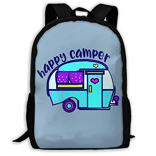 sghshsgh Rucksack für Hochschule,School Backpack Happy Camper 3D Adult Outdoor Leisure Sports Backpack high School Computer Bag