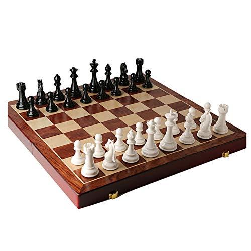 Schachspiel Holz Hochwertig Groß, Schachbrett Holz Große/Schachfiguren Metall, 20in Professionelle Schach Spiele Und Boards Spiel Für Kinder, Innenraum Lagerraum (Color : Style A)