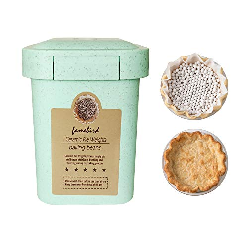 Ceramic Pie Weights Reusable Baking Beans Pie Crust Weights Natural Ceramic Stoneware with Wheat Straw Container