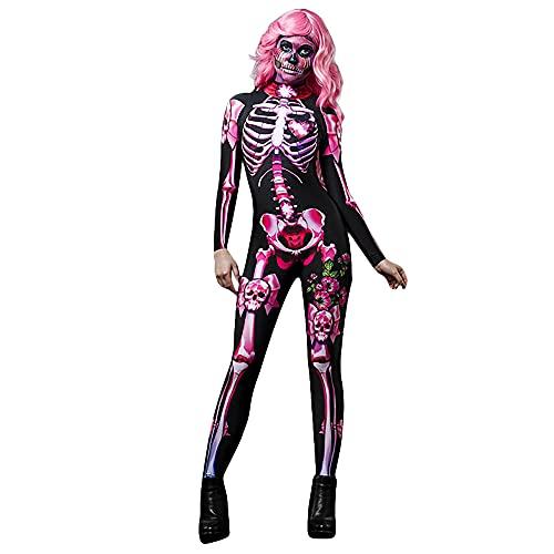 DFGDF Disfraz de Esqueleto Rosa, Mono de Cosplay, Mono Ajustado, Catsuit con Estampado 3D de Halloween para Mujeres, nios, Disfraces de Miedo, Disfraz de Fiesta