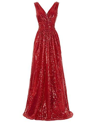 Kate Kasin Damen Pailletten Abendkleid Ärmellos Homecoming Kleid Maxikleid KK199,Kk199-5(dunkelrot),36 EU