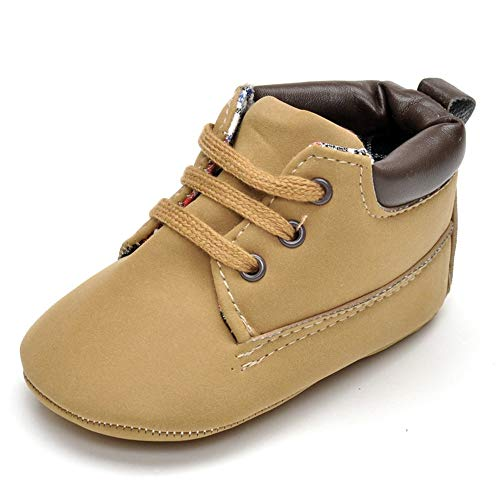 Baby Boys' Faux Leather Brown Sneakers Soft Sole High-Top Infant First Walkers Crib Shoes
