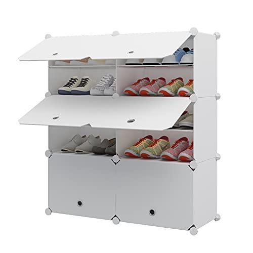 Aeitc Portable Shoe Rack, 24-Pair DIY Shoe Storage Shelf Organizer, Plastic Shoe Organizer for Entryway, Shoe Cabinet with Doors, White