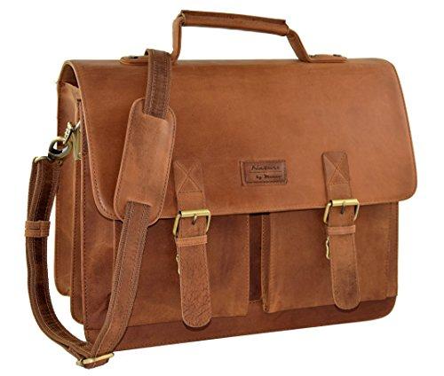 "MENZO Lederaccessoires ""Oxford"" Buffalo Vintage Leder, Lederaktentasche, Umhängetasche, Messengerbag, Businesstasche, Lehrertasche, Überschlagtasche, Notebooktasche (braun)"
