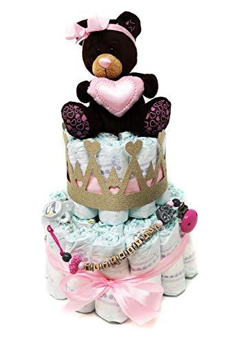 Elfenstall Windeltorte/Babylove-Windeln mit Bären-Stofftier, Schnullerkette, Adapter und MAM-Schnuller, goldene Kronendeko als Geschenk zur Geburt auf Wunsch mit Name des Babys