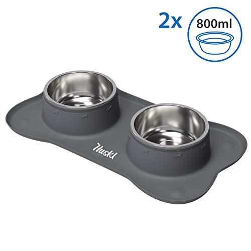 Silikon-Napfunterlage mit 2 x 800ml Bowl L 59 x 30cm für Mittlere Hunde Hundenäpfe, Edelstahlschüsseln, Futternapf, Hundezubehör, Fressnapf in Knochenform Grau mit Saugnapf