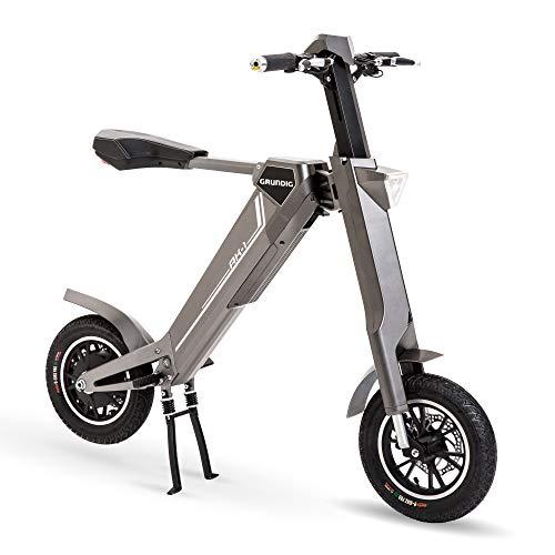 GRUNDIG Elektrofahrrad Faltbares E Fahrrad Elektroroller Smart Mountain E-Bike Für Erwachsene Teenager mit 350W Motor Bluetooth Lautsprecher LCD Lithium-Ionen-Batterie 30 km/h (Grau) (B)