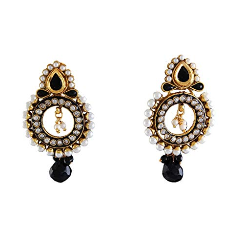 JewelryGift Shining Bali Earrings Gold Plated Black Onyx, Pearl Studded Fancy Design Traditional Handcrafted Fashion Jewellery for Girls Women MY 53-BLACK