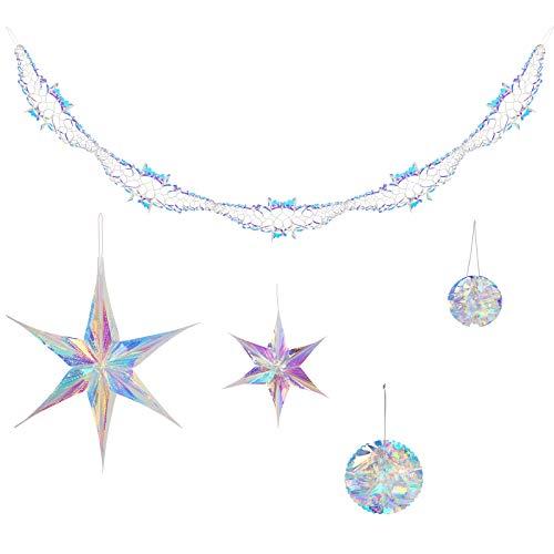 CINMOK 5pcs Estrellas Colgantes Blancas Navideñas Decoración Pompom Plástico Colgante Navidad para Bebé Duchas Bodao Fiesta de Cumpleaños Carnaval Nuevo Año Brillante Blanco Hielo Brillo Metálico 2.6m