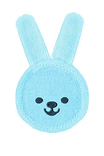 Mam Rabbit Beißring, Handschuh für Oralhygiene, auch vor Zahnungen, Mikrofaser, 0 Monate, Hellblau