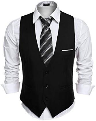 COOFANDY Popular Men's Slim Fit Suit Waistcoat Vest Large discharge sale Business Wedding