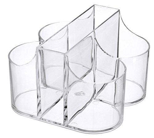 Lillian Tablesettings|Cutlery Caddy Organizer 5 Compartment - Silverware Organizer & Napkin Holder - Clear