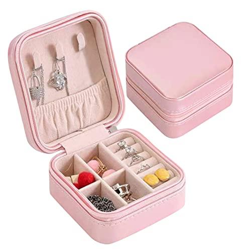 TYTUOO Joyero portátil de gran capacidad para el hogar, collar y pendientes, accesorios de joyería duraderos (AB-rosa, talla única)