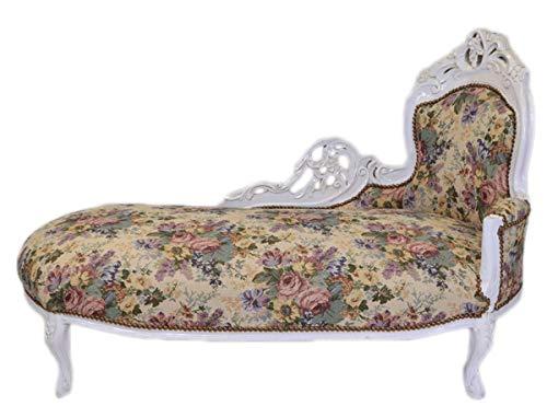 Casa Padrino Barock Chaiselongue Blumenmuster/Antik Weiß - Möbel Lounge Liege Recamiere
