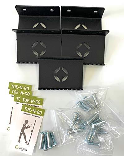 Foot Pull Door Opener 5 Pack Black NO Touch Hands Free, DECRON Toe-N-GO Foot Operated Door Opener for Bathrooms and Commercial Buildings (5)