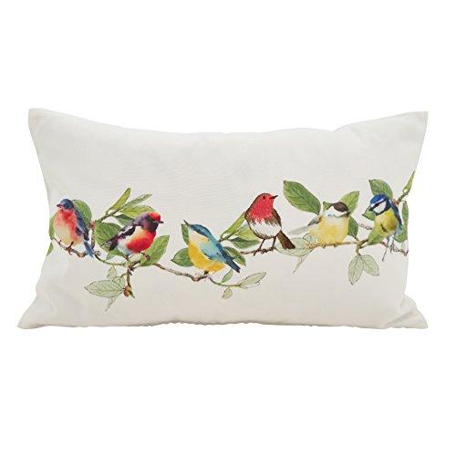 SARO LIFESTYLE Fleurir Collection Embroidered Birds Throw Pillow/263.M1220B, 12' x 20', Multi