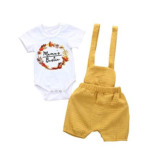 Moneycom❤Nouveau-né Infantile Bébé Filles Floral Barboteuse Salopette Salopette Pantalon Tenues D'été Vêtements Jaune(18-24 Mois)