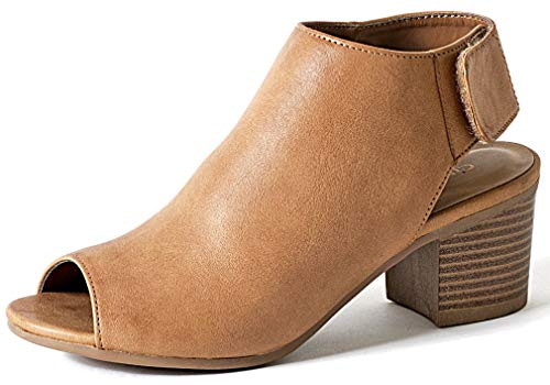 Peep Toe Bootie – Low Stacked Heel - Open Toe Ankle Boot Cutout Velcro Enclosure, Tan pu, 8.5