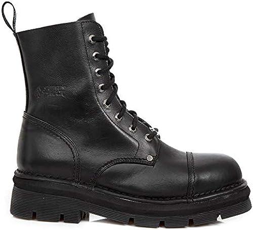 New Rock New Mili-083 S14 Schwarz Gothic Stiefel Military Unisex 8 Loch Biker Schuhe