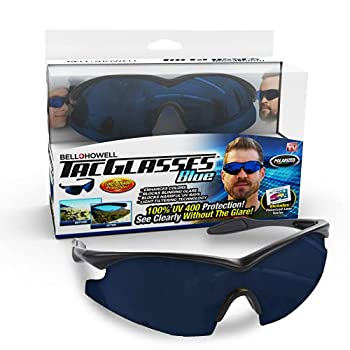 Bell+Howell TACGLASSES Polarized Sports Sunglasses for Men & Women Unisex Military Eyewear Ultra Tough Lightweight Frame for Driving Cycling Fishing As Seen On TV  Blue
