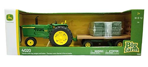 TOMY John Deere Big Farm 4020 Tractor with Hay Wagon & Bales (1:16 Scale)