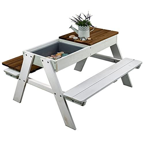 Meppi Sitzgruppe Rügen weiss/braun aus wetterfestem Holz - Sitzgarnitur für drinnen und draußen aus Massivholz
