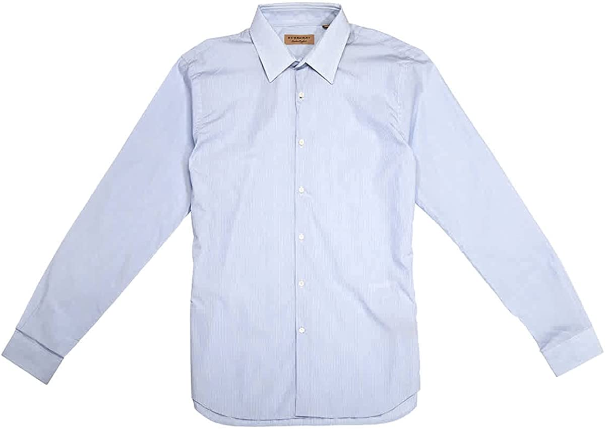 Burberry Men's City Blue Stripe Trim Fit Dress Shirt, Brand Size 16