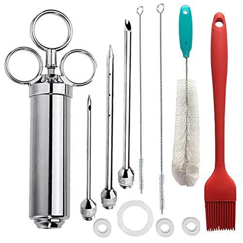 Quitd jeringa de acero inoxidable para inyectores de carne de 2 onzas, gran capacidad con 3 agujas de marinado, cepillo de limpieza para barbacoa
