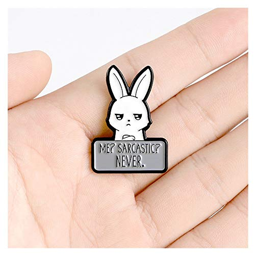 GAOX *Sarcastic Bunny Enamel Pins Meme Funny Rabbit Cute Animal Jewelry Feminism Badges Brooches Lapel Pins For Women Friends Gifts(Size:1PCS)